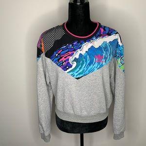 Adidas Cropped Wave Gray Crewneck Sweatshirt Small